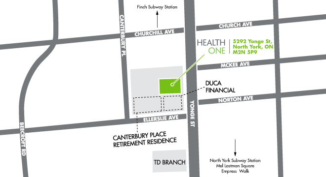 NY - HealthOne North York Map